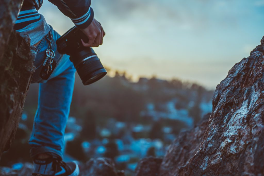 photographer on mountain top
